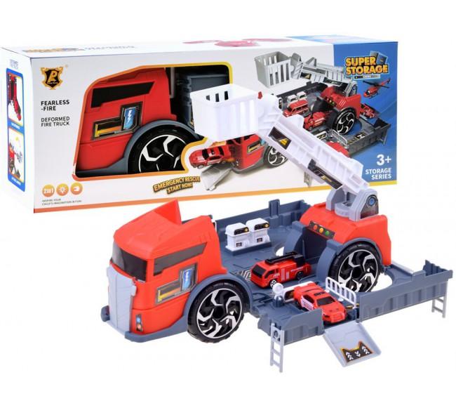 Raudonas sunkvežimis +...