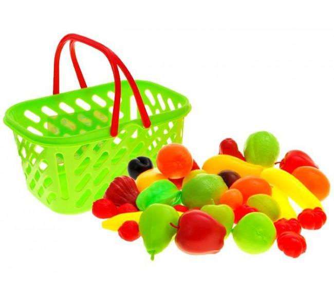 Spalvotas krepšys su vaisiais