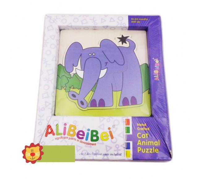 Medinė dėlionė, drambliukas