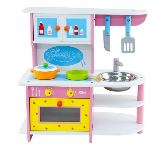 Spalvota medinė virtuvė su...